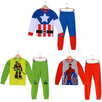 Spiderman Kids Pyjamas Cartoon Boys Pijama Infantil Cotton Sleepwear Children's Pajama Set Ninja Turtle Indoor Clothing PS091