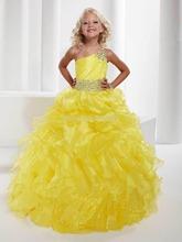 2015 Gorgeous Yellow Kids Girls Pageant Dress Ball Gowns One Shoulder Organza Beaded Junior Flower Girl Dresses Daminha QA185(China (Mainland))