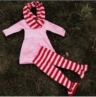 2015 new baby girls kids dress and pant outfits boutique outfits stripe dress pant set with matching stripe scarf
