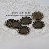 (20 pieces/lot) Antique Bronze Alloy Flower Blanks 18mm Round Pendant Setting Cabochon Pendant Settings Charms 7955