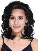 Charming Black Long Curly Stylish Woman's Synthetic Wig Kanekalon Fiber no lace Hair wigs Free shipping