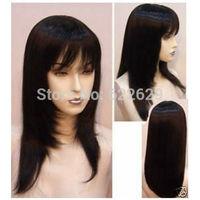 Fashion Long Pretty Black Straight Wig Kanekalon Fiber no lace Hair wigs Free shipping