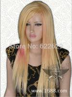 Sexy Long Blonde Pink Gradient Cosplay Hair Wigs Kanekalon Fiber no lace Hair wigs Free shipping