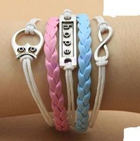 SL0107 Hot New Fashion Wholesales Hope Believe Infinity Multilayer Leather Bracelet Accessories Jewelry for Women Bangle