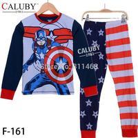 2015 Spring big boys cartoon captain American clothes set / children pajamas / kids sleepwear