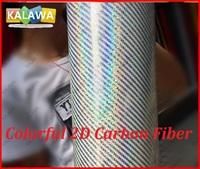 1Roll 1.52X20M Colorful 2D carbon fiber vinyl film with bubble free White Colorful 2D carbon car sticker free shipping TTT