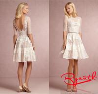 Vestidos De Novia Short Wedding Dresses Vintage Open Back Lace Wedding Dress 2015 Dresses For Brides Vestidos Renda RBW200