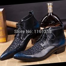 Nouvelle arrivée MENS main Made bottes élégantes de mode à la mode hommes à lacets bottes en cuir véritable fabriqué à la main hommes chaussures Dess(China (Mainland))