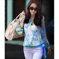 2014 New Fashion Women Ladies Chiffon Shirt Floral Printed Long Sleeve Blouse Shirt 3 Color