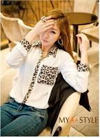 Women's summer chiffon shirt patchwork leopard print long-sleeve loose A12390
