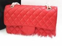 Women's Lambskin Leather Classic Flap Shoulder Messenger Bag, Charming Famous Brand Quilted 2.55 Handbag cc 2014