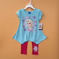 Free Shipping FROZEN Elsa and anna girl girls blue short sleeves t shirt  + pink  leggings  2 piece suit dress