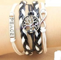 SL0110 Hot New Fashion Wholesales Peace Tree Infinity Multilayer Leather Bracelet Accessories Jewelry for Women Bangle