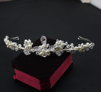 Pure handmade wedding hair accessories tiara simple European design wedding hair headpiece with pearls Crystal Free Shipping