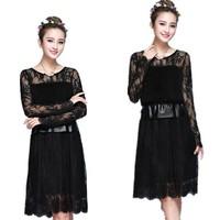 Free Shipping 2015 Spring Summer Women Korean Long Sleeve Gauze Medium-Long Dress , PU leather Patchwork Lace Dresses CM5367