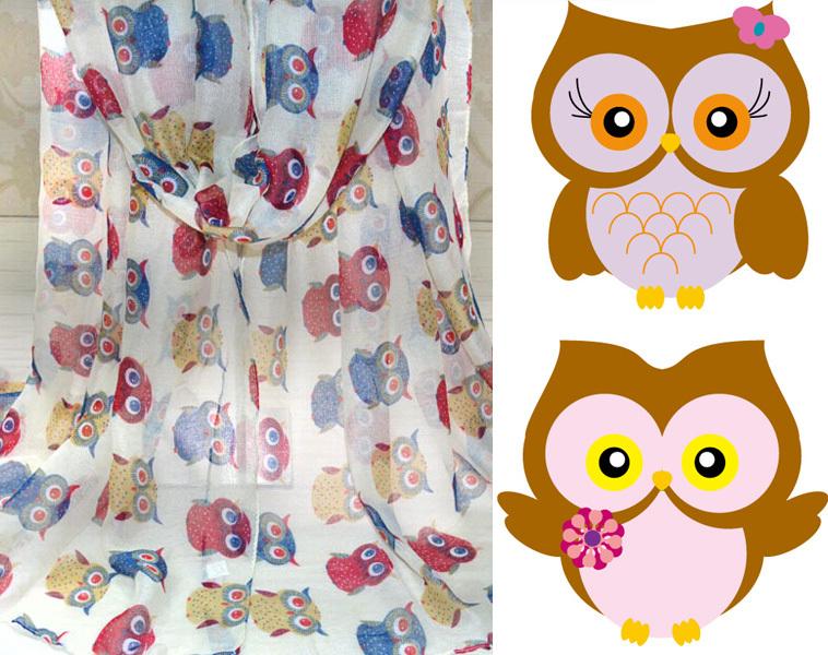2014 Fashion high quality women Scarf cartoon cute baby owl scarf animal printed soft voile scarf long shawl(China (Mainland))