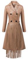 2015 New Spring women's long section Lapel Slim leather coat detachable tassel leather jacket Coat#QJJ396