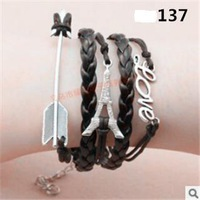 L0137 Hot New 2015 Jewelry Vintage Love Arrow Tower Infinity Metal Leather Bracelets Multilayer Rope Bangle Wholesale