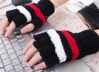 New arrival 1Pair  USB Heating Warm Hand Gloves Heated Woolen Fingerless Mitten Winter Girl Gift Free Shipping