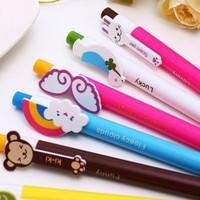 20pcs/lot Cute Animal Ballpoint Pens Cartoon Plastic Ballpen Novelty Stationery Student Gifts Office School Supplies Wholesale