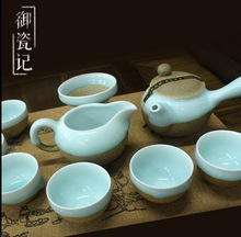 Chinese tea set, Deihua pottery that made in crude terracotta,with six tea cups ,one tea pot and one tea urn in gift packing