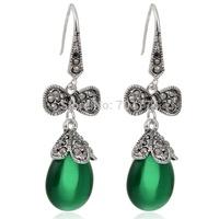 2015 Hot New Arrival Waterdrop Teardrop Shaped Green Opal 18K White Gold Plated Drop Dangle Earrings Jewelry for Womens Girls