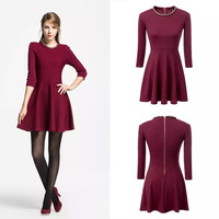 Women fashion red dress vintage new arrival european style high quality knitted office basic female clothes Free shipping