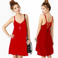 European American Style Women Sexy Dress V-neck Backless Lacing Solid  Night Club Spaghetti Strap Dress