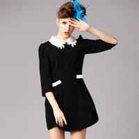 S-5XL High-end Brand Novelty Ladies Peter Pan Collar Bud Black Dresses 2015 Spring Autumn Women Dress Plus Size XXXXXL