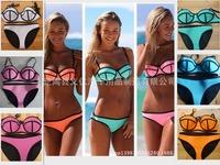 Swimwears Triangle Women's Fashion Neoprene Bikinis Woman New Summer 2014 Sexy Swimsuit Bath Suit Push Up Bikini set Bathsuit