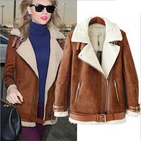 Women Winter Suede Jacket Faux Lamb Lining Warm Coat Turn Down Collar Zipper Jacket With Belt Casual Plus Size Outwear