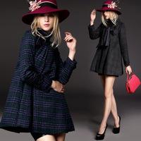 European high-end women's wear plaid long-sleeve cape overcoat woollen coat Q1565 female woolen cloth coat female model
