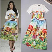 2015 spring summer 2 piece set women two piece outfits tropical print high waist skirt midi skirt+african woman print t-shirts