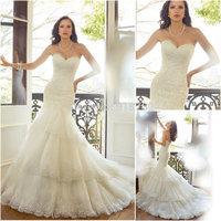 Romantic Fashionable Off Shoulder Lace Up Back Tiered Lace Mermaid Wedding Dresses Vestido De Noiva 2015