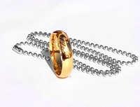 18K gold plated ring 316L Stainless Steel ring for men 3D carving jewelry + Gift Chain