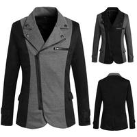 2015 New  pop  men's  oblique zipper design spell color suit free shipping