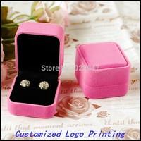6pcs/Lot 5.8x5.0x4.0cm Fashion Velvet Jewelry Pink Gift Packaging Display Box Case Customized Logo Printing