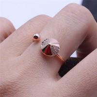 Open ring.Free shipping.18 KGP rhinestone average size screw shape ring.Creative Christmas gifts.Wholesale women's jewelry.