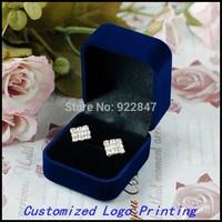 6pcs/Lot 5.8x5.0x4.0cm Fashion Blue Gift Box for Jewelry  Watch ring earrings Jewelry Box Customized Logo Printing