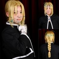 Angelaicos Edward Elric Fullmetal Alchemist Long Golden Braid Christmas Costume Cosplay Wig