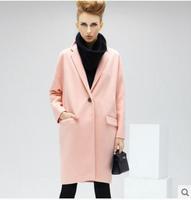 new winter coat solid color big female fashion woolen long coat