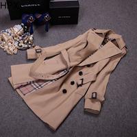 Women Fashion Classic Khaki Single Breasted Long Sleeve Slim Trench Coat Plus Size 2014 Autumn Winter New European Style O1139