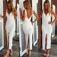 Free shipping 2014 new girlfriend Spaghetti strap white vneck party dress sexy Split long prom dress wholesale luxury