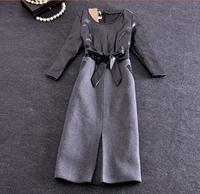 Women Winter New Dress 2014 Vinatge Elegant  Office Lady Pu Leather Patchwork Wool Dresses Plus Size Pencil Skinny Dress