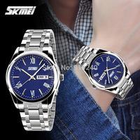 Free shipping 2015 fashion casual  Waterproof watch Men Calendar Stainless steel bracelet Quartz Wristwatches 4 colors---gbk
