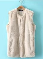 2014 Winter New Women Faux Fur Shaggy Vest Sleeveless Coat Outerwear Long Hair Jacket Waistcoat#QJJ398