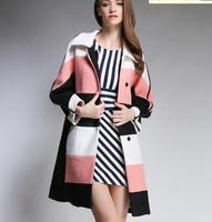 Fashion Plaid hit color stitching wool woolen coat woolen coat loose big fashion