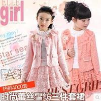 8584 girls clothing 2015 child knitted 3 pieces\set skirt 130cm-165cm lace children's girls clothing sets girl angel skirt set