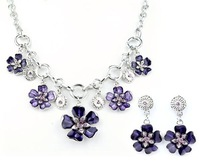 Top Quality Flower Enamel  Fashion jewelry set Women's Party gift Chain Necklace and earrings set Gifts A035