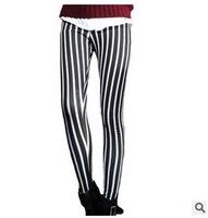 2015 Free Shipping New Spring Autumn Women Pants  Show thin show high stripe Plus Size Winter Plus Velvet Warm Woman Leggings